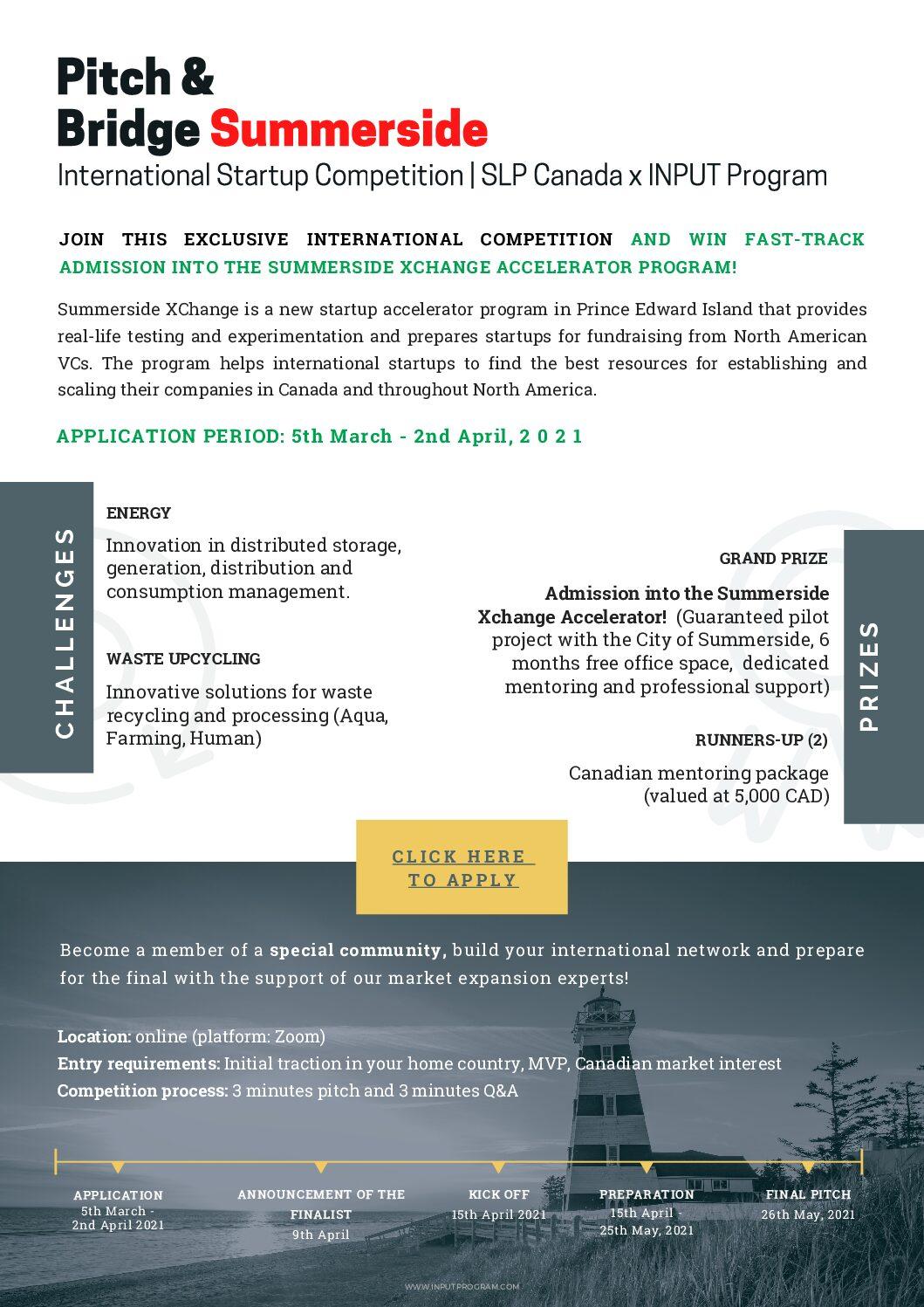 , Pitch & Bridge Summerside: International Startup Competition | SLP Canada x INPUT Program